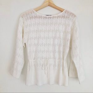 SUZY SHIER White Open Knit Drawstring Crochet Top